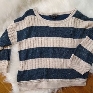 Forever 21 metallic blue/cream stripe sweater fall